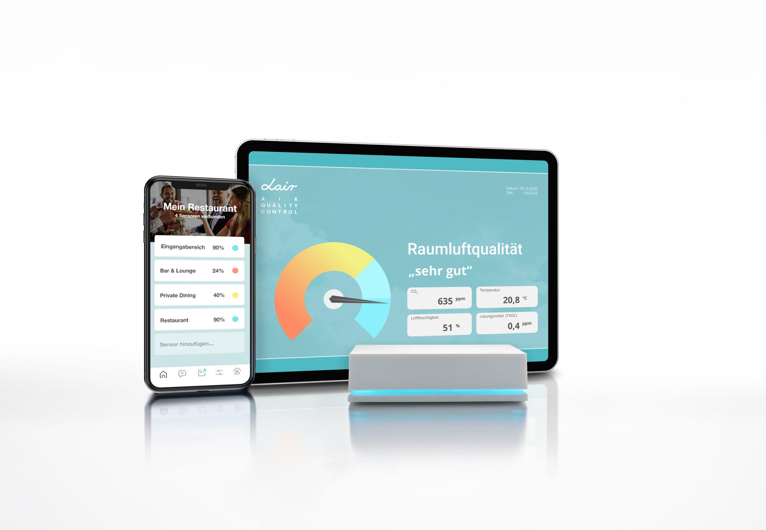 LAIR ONE Raumluftmessung Uebersicht für Smartphone und Tablet